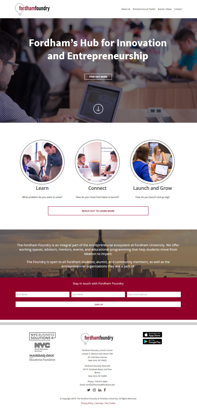 Website Design The Fordham Foundry