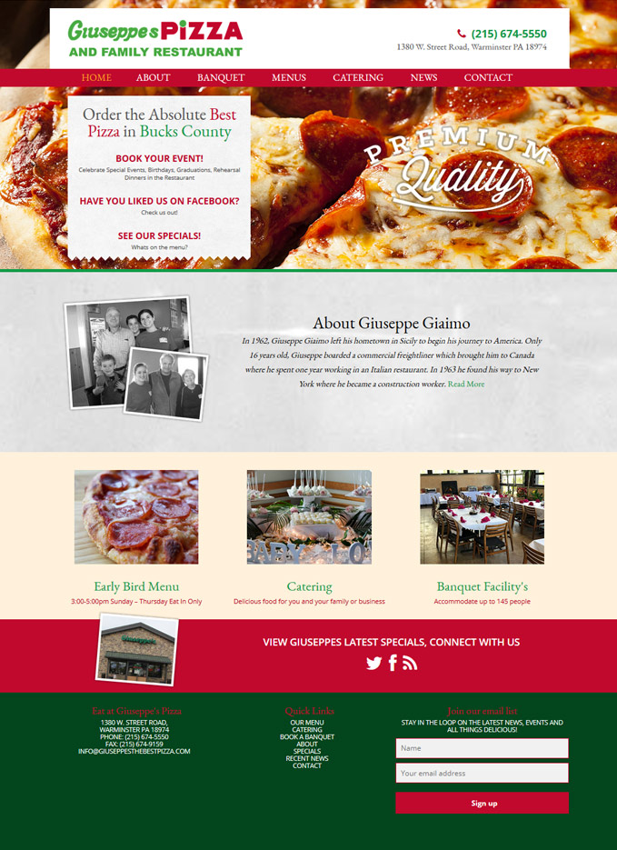Giuseppe's Pizza Website Design