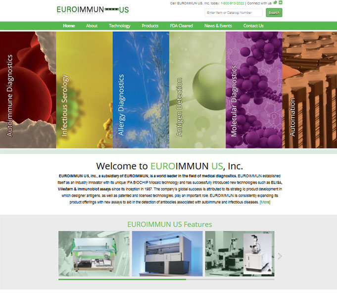 EUROIMMUN US, Inc. - Medical Diagnostics Website Design
