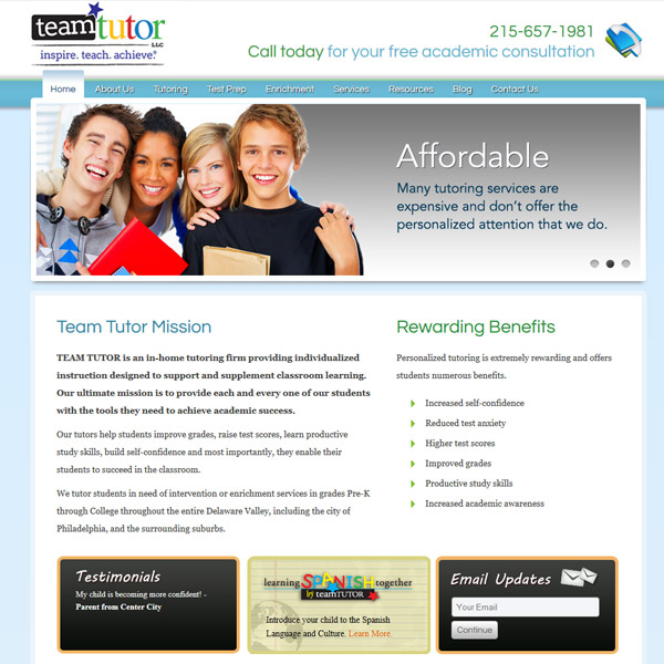 Team Tutor - Private School Tutoring Web Design